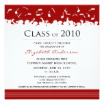 Cap & Gown Square Graduation Announcement (red)