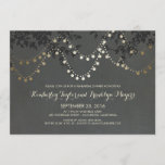 Chalkboard Gold String Lights Rehearsal Dinner Invitation