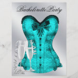 Champagne  and Teal Blue Corset Bachelorette Party Invitation