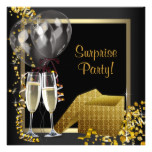 Champagne Confetti Black Gold Surprise Party Card