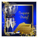 Champagne Confetti Blue and Gold Surprise Party Card