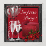 Champagne Sparkles Red Surprise Party Invitation