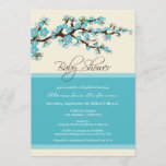 Cherry Blossom Baby Shower Invitation (aqua)