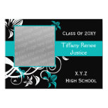 chic aqua Graduation photo Invitation