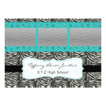 chic aqua triple photo film strip Graduation Invitation