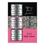 chic pink triple photo Graduation Invitation