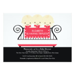 Chic TRIPLETS in Crib Baby Shower Invitation Red