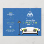 Chic Zebra Cocktail Party Invitation (blue)