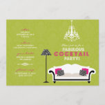 Chic Zebra Cocktail Party Invitation (lime green)