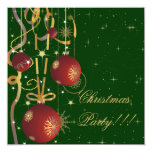 Christmas Balls And Ribbons green Party Invitation