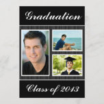 Class of 2013 Black Striped Graduation 3 Photo Invitation