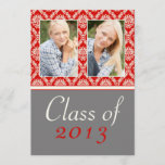 Class of 2013 Red Damask Graduation Invitation