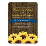 COBALT BLUE RUSTIC SUNFLOWER WEDDING INVITATION