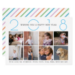 Colorful New Year 2018 stripes blue photo collage Card