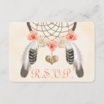 Coral and Gold Boho Dreamcatcher Wedding RSVP Card