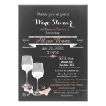 Coral Chalkboard Wine Lingerie Shower invites
