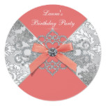 Coral Diamonds Coral Birthday Party Card