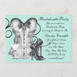 Corset Martini Teal Blue Bachelorette Party Invitation
