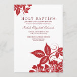 Cranberry Floral Holy Baptism Invitation