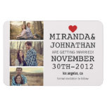 Cream & Red Photo Strip Save The Date  Magnet