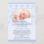 Cross & Hearts Photo Christening Inviation Invitation