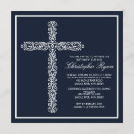 Cross Baptism Christening Boy Baptism Inviation Invitation
