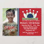 Custom Photo Bowling Birthday Party Invitation