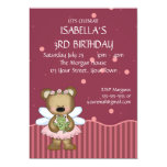 Customizable Teddy Bear Pink Fairy Princess Invitation