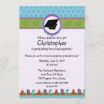 CUTE Blue Boys Kindergarten Graduation Invitation