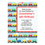 Cute Bright & Colorful Cars Birthday Party Card