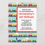 Cute Bright & Colorful Cars Birthday Party Invitation