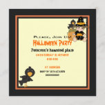 Cute little Halloween witch orange black dress Invitation
