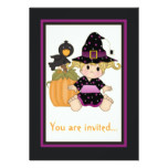 Cute little Halloween witch with purple black Card