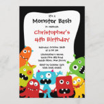 CUTE Little Monster Bash Birthday Party Invitation