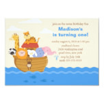 Cute Noah's Ark 1st Birthday Invitation