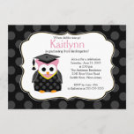 Cute Polka dots Grad Owl Girl Graduation Invitation