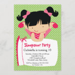 CUTE Sleepover Birthday Party Inviation Invitation