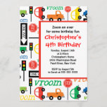 Cute Trucks & Cars Birthday Party Invitation