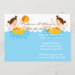 CUTE Twin Girls Pool Party Birthday Invitation