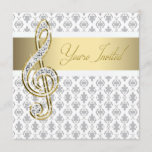 Damask Gold Treble Clef Recital Invitations