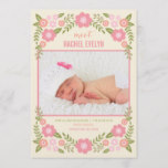 Darling Blooms Birth Announcement - Cream