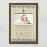 "Darling Victorian 5x7"" Taupe Baptism Invitation"