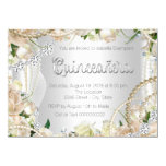 Diamond and Pearl Rose Quinceanera Invitation