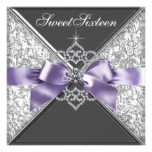 Diamonds Purple and Black Sweet 16 Birthday Party Card