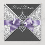 Diamonds Purple and Black Sweet 16 Birthday Party Invitation