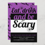 Eat, drink and be scary purple Halloween party Invitation