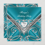 Elegant Birthday Party Teal Blue Silver Diamond Invitation