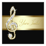 Elegant Black and Gold Music Treble Clef Card