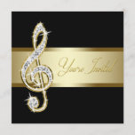 Elegant Black and Gold Music Treble Clef Invitation