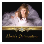 Elegant Black and Gold Photo Quinceanera Card